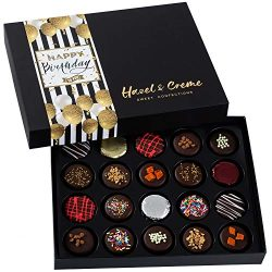 Hazel & Creme Happy Birthday Cookie Gift- Birthday Food Gift – 20 Chocolate Covered Co ...