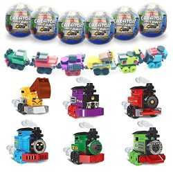 Anditoy 6 Pack Easter Eggs with Train Building Blocks Toys Inside Train Set for Kids Boys Girls  ...