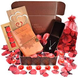 Anniversary Gifts For Her- INCLUDES: Sterling Silver Necklace, Leather Journal, Rose Petals, Rom ...