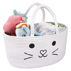 LEEPES Baby Diaper Caddy Organizer – Stylish Rope Nursery Storage Bin – Cotton Canva ...