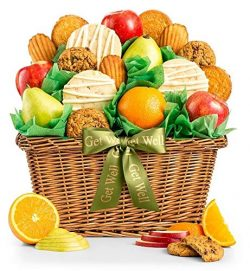 GiftTree Fruit and Gourmet Cookies Get Well Gift Basket | Premium Fresh Pears, Apples and Orange ...