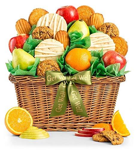 GiftTree Fruit and Gourmet Cookies Get Well Gift Basket | Premium Fresh Pears, Apples and Orange ...
