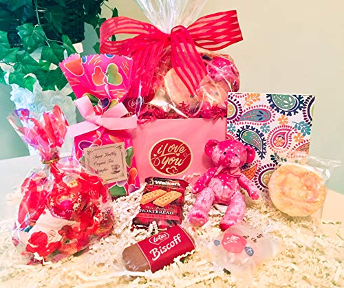 Valentine's Day Gourmet Gift Basket with Lindt Chocolate Truffles, Cutest Pink Teddy Plush ...