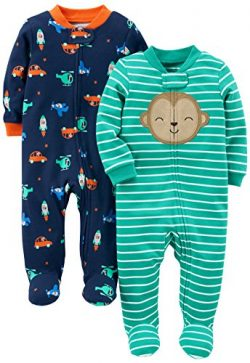 Simple Joys by Carter's Baby Boys' 2-Pack Cotton Footed Sleep and Play, Monkey/Vehic ...