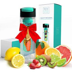 Savvy Infusion Flip Top Fruit Infuser Water Bottle – 24 Ounce – Unique Leak Proof Li ...