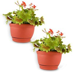 T4U Wall Hanging Planter Pots Outdoor Use Plastic 6 Inch Terracotta Set of 2, Small Self Waterin ...