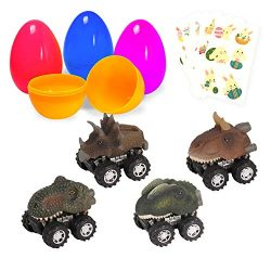 Large Surprise Eggs Filled 4 Pack Easter Eggs with Pull Back Dinosaur Cars Inside, Colorful Pre  ...