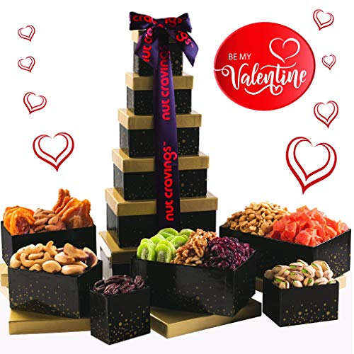 Valentine's Day 2020 Gift Basket, Nut and Dried Fruit Gift Tower, Gourmet Edible Arrangeme ...