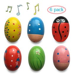 Anditoy Wooden Shake Eggs Musical Easter Eggs Shakers for Toddlers Kids Girls Boys Easter Basket ...
