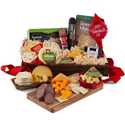 Charcuterie Tray Valentine's Day Gift of Cheese, Sausage, Crackers, and Dip
