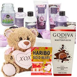 Valentines Day Gift Basket 15 pcs Set | XOXO Teddy Bear | Godiva Chocolate | 11 pcs Lavender Van ...