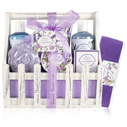 Bath Spa Basket Gift Set, with Lavender & Jasmine Scent, Home Spa Gift Basket Kits for Women ...