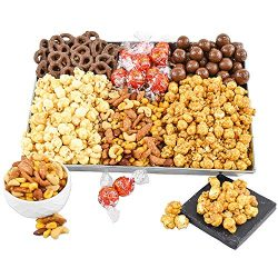 Gourmet Snack Gift Basket with Chocolate, Nuts, Caramel Popcorn, Enjoy Lindt Lindor Milk Chocola ...