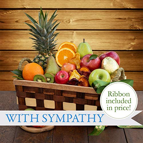 Thoughtful Sympathy Fruit Basket -The Fruit Company-13 pieces of premium fresh pears, apples, or ...