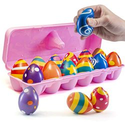 Prextex 12 Squishy Easter Eggs for Easter Hunts, Stress Relief and Party Favors – 12 Soft  ...