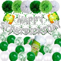 Euone  St Patrick's Day Decoration,Latex and Foil Balloons Kit Round Balloons Decor Happy  ...