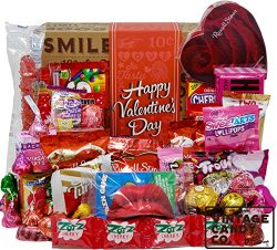 VALENTINES CANDY CARE PACKAGE LOADED GIFT BOX Filled With Valentine Milk Chocolate Hearts, Kisse ...