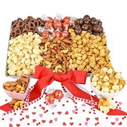 Valentine Snack Gift Basket with Chocolate, Nuts, Caramel Popcorn, Lindt Milk Chocolate Truffles ...