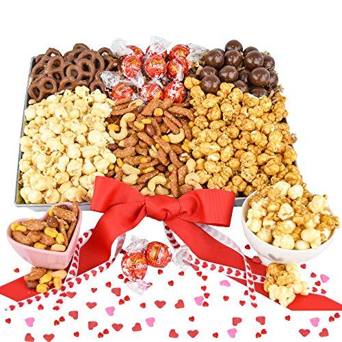 Valentine Snack Gift Basket with Chocolate, Nuts, Caramel Popcorn, Lindt Milk Chocolate Truffles ...