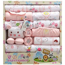 LKOUS Baby-Girls/Boys Newborn 18 Piece Newborn Essentials Gift Set, Pink