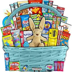 Blue Easter Basket for Kids and Adults 40ct – Already Filled Easter Gift Basket with Plush ...
