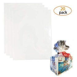 SBYURE Clear Cellophane Bags,20 PCS 22 x 28 Inches Clear Wrap Plastic Bags for Gifts Baskets Wra ...