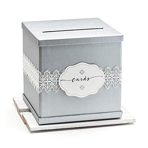 Hayley Cherie – Silver Gift Card Box with White Lace and Cards Label – Ivory Texture ...
