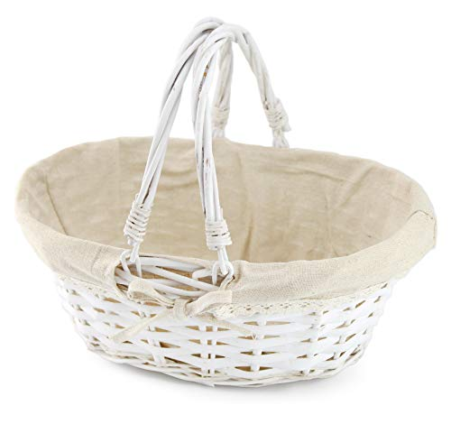 Cornucopia Wicker Basket with Handles (White-Painted), for Easter, Picnics, Gifts, Home Decor an ...
