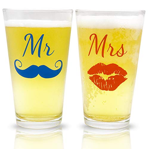 Mr. and Mrs. Pint Beer Glasses Gift Set | Funny Engagement or Wedding Present | Perfect for Newl ...