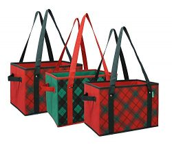 Earthwise Deluxe Collapsible Reusable Shopping Box Grocery Bag Set with Reinforced Bottom Plaid  ...