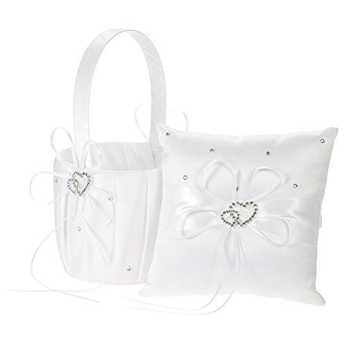 Decdeal Double Heart Satin Ring Bearer Pillow and Wedding Flower Girl Basket Set 6 x 6 inches