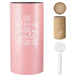 She Believed She Could So She Did – 14 oz Insulated Tumbler with Lid and Straw – Fan ...