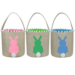 3 Pack Easter Bunny Baskets, Easter Egg Hunt Bunny Bags Little Baskets with Fluffy Tail Canvas C ...
