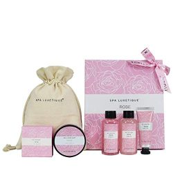 Spa Luxetique Spa Gift Basket, Rose Gift Baskets 6pc Travel Bath Set with Bar Soap, Body Lotion, ...