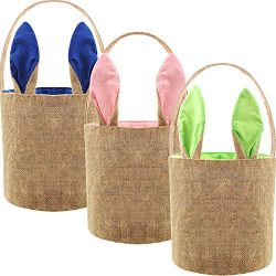 Easter Egg Basket Bunny Burlap Bag Easter Handbag for Carrying Eggs Candies and Gifts (Dark Blue ...
