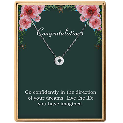 Graduation Gift for Girl S925 Sterling Silver Dainty Compass Pendant Necklace for Women