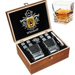 Whiskey Stones Gift Set – Heavy Base Glasses For Scotch Bourbon Drinker- Whisky Rocks Chil ...