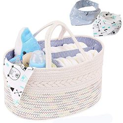 Magicfly Baby Diaper Caddy Organizer with 2 Bibs, Portable Cotton Rope Nursery Storage Bins for  ...