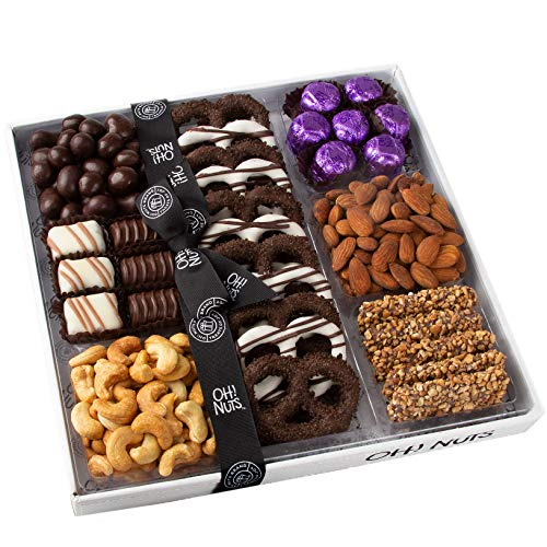 Oh! Nuts Gourmet Purim Gift Box, White Snacking Tray | Rich Prime Chocolate Truffles, Hand-Coate ...