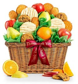 GiftTree Fruit and Gourmet Cookies Thank You Gift Basket | Premium Fresh Pears, Apples and Orang ...