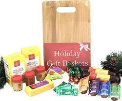 Hickory Farms Gift Basket and Bamboo Cutting Board Gift Set – Exclusive Christmas Edition  ...