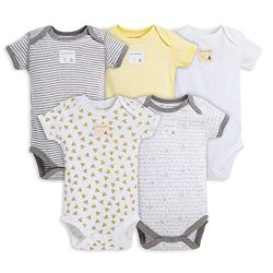 Burt's Bees Baby – Bodysuits, 5-Pack Short & Long Sleeve One-Pieces, 100% Organi ...