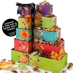 Oh! Nuts Gourmet Purim Food Gift Baskets | Nut & Dried Fruit 5 Section Tower | Prime Corpora ...