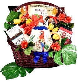 Tea-riffic Tropical Treats – Tropical Gift Basket For Women With Ceramic Teapot, Assorted  ...