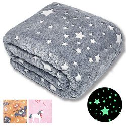 Forestar Glow in The Dark Throw Blanket, Christmas Fun Gift for Girls Boys Kids, Premium Super S ...