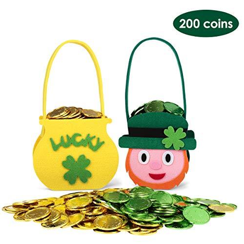Unomor St. Patrick's Day Decorations 200 Lucky Shamrock Leprechaun Coins with 2 Felt Cauld ...