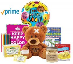 Sending Good Vibes and Get Well Wishes – Get well Gifts For Women with coloring kit and tea