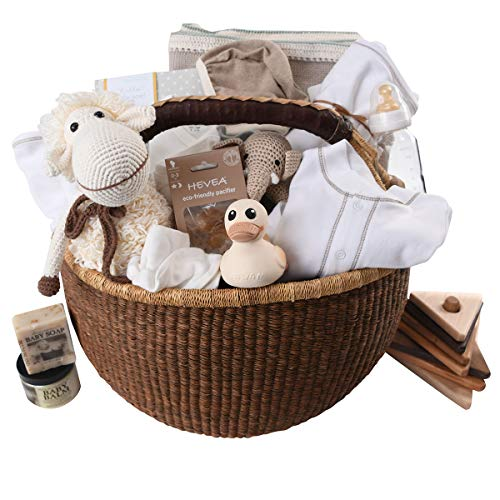 Organic Luxury Baby Gift Basket – Group Gift Idea for Baby Shower & Corporate Gifts