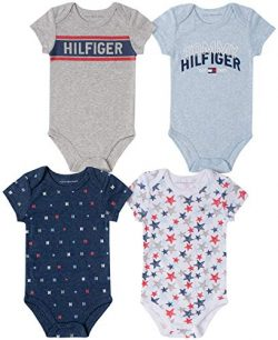 Tommy Hilfiger Baby Boys' 4 Pieces Pack Bodysuits, Blue/Navy/Grey, 0-3 Months