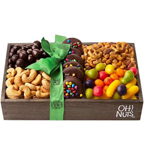Oh! Nuts Hardwood Purim Gift Tray for Shalach Manos   Prime Baskets of Assorted Fruit Candies, R ...